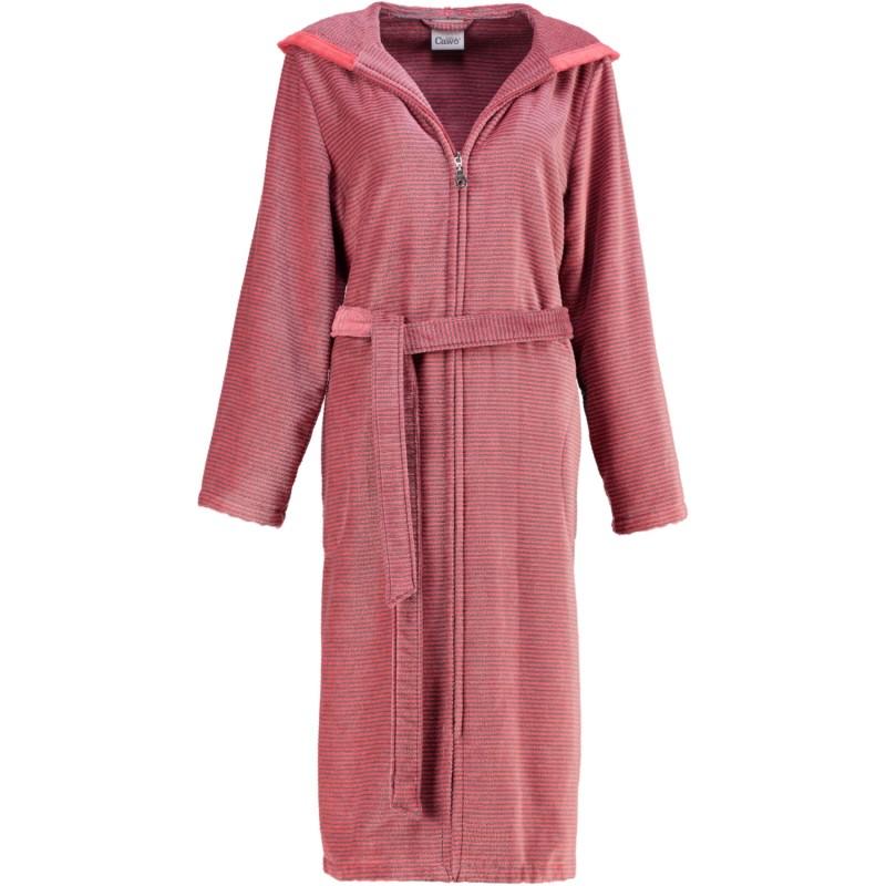 Cawö Dame Morgenkåbe rød med tynde grå striber | bomuld