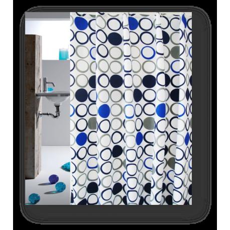 Badeforhæng Cirkel grå/blå fra IT