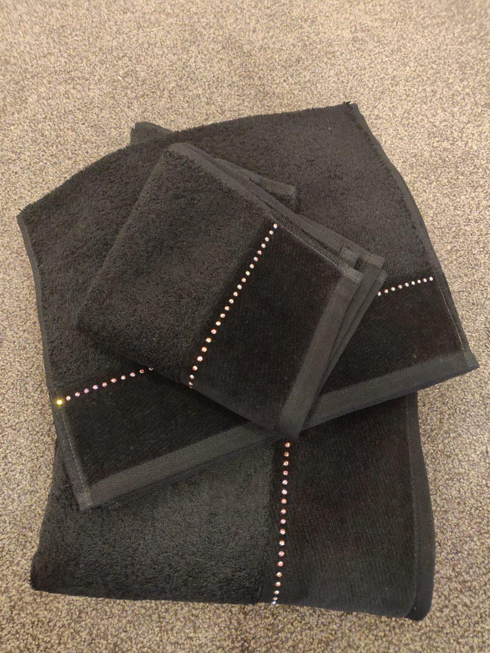 Møve håndklæde sort med bling