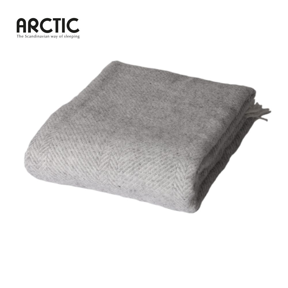 Uld plaid Herringbone lysegrå fra Arctic