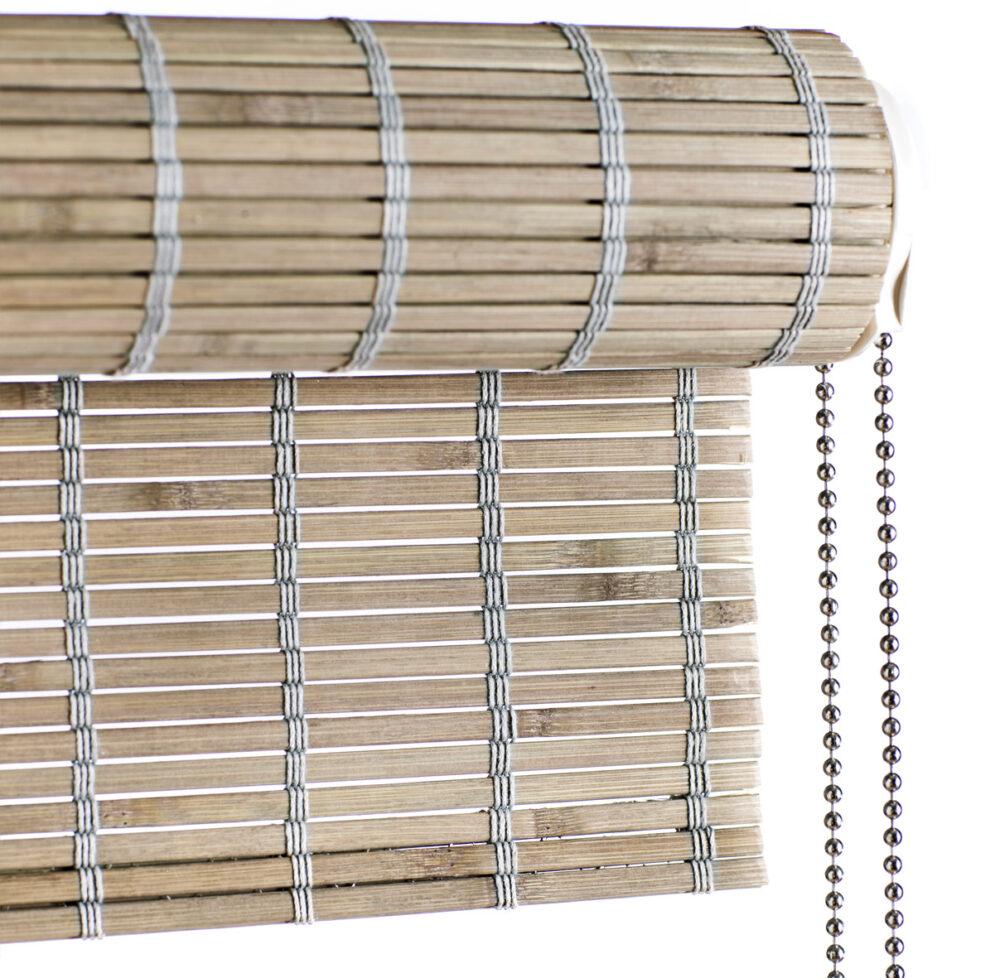 Bambus rullegardin med kæde grå bejdset fra Color & Co
